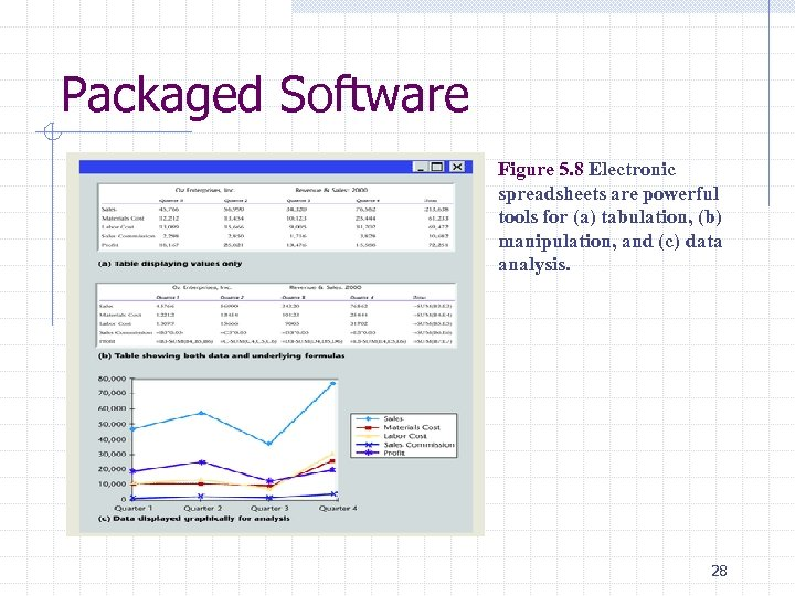 Packaged Software Figure 5. 8 Electronic spreadsheets are powerful tools for (a) tabulation, (b)