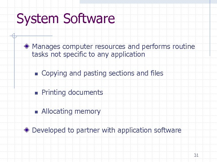 System Software Manages computer resources and performs routine tasks not specific to any application