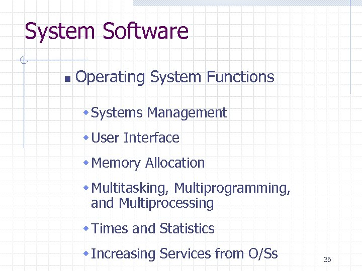 System Software n Operating System Functions w Systems Management w User Interface w Memory