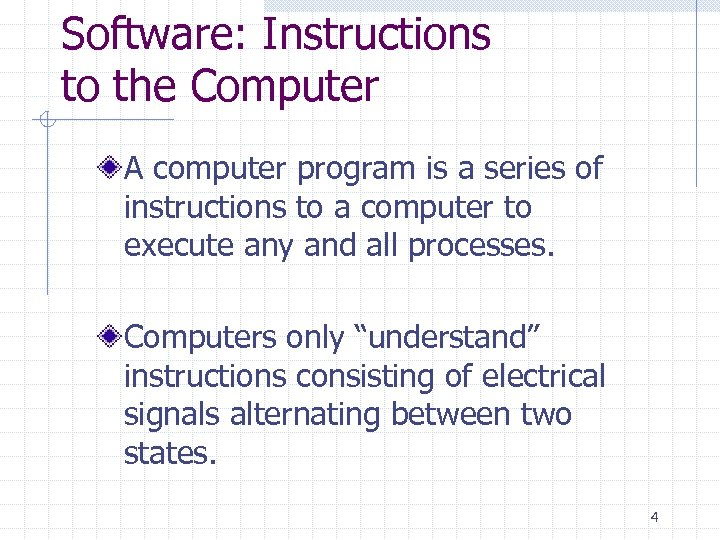 Software: Instructions to the Computer A computer program is a series of instructions to