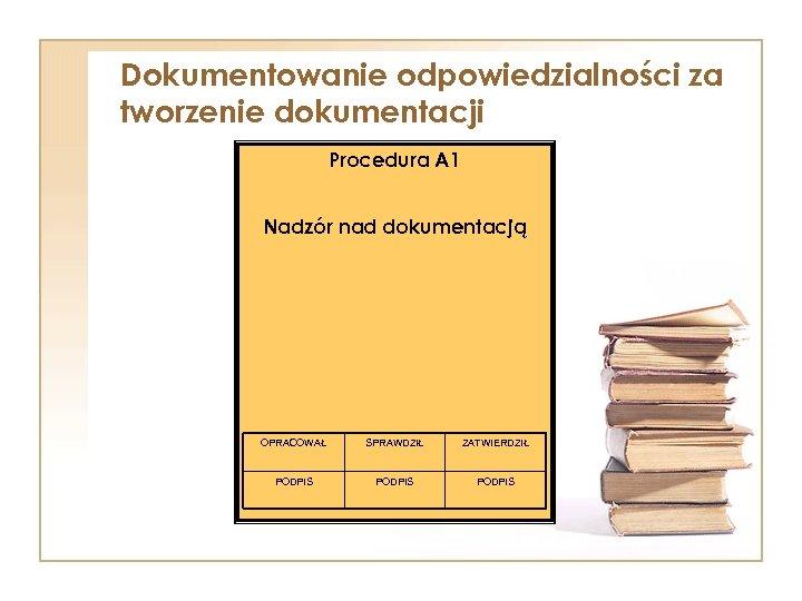 Dokumentowanie odpowiedzialności za tworzenie dokumentacji Procedura A 1 Nadzór nad dokumentacją OPRACOWAŁ SPRAWDZIŁ ZATWIERDZIŁ