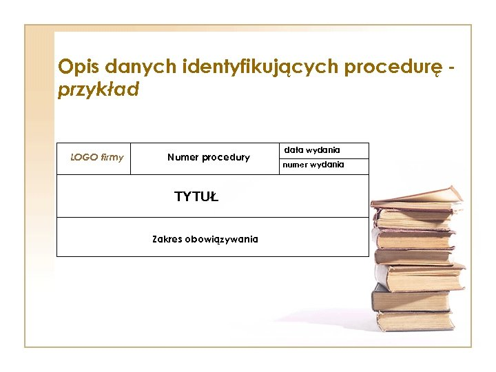 Opis danych identyfikujących procedurę przykład LOGO firmy Numer procedury TYTUŁ Zakres obowiązywania data wydania