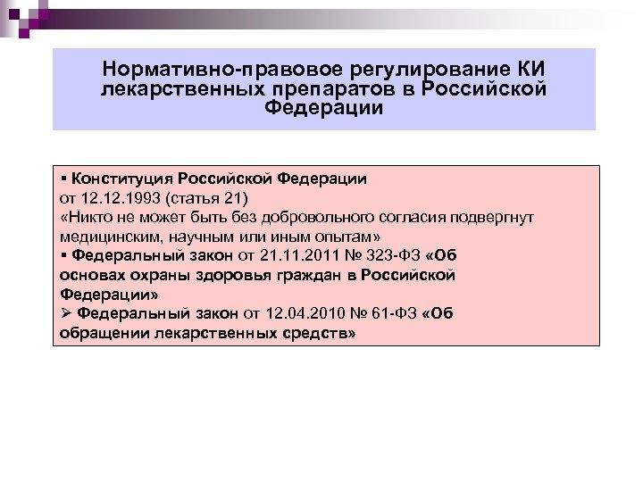 Нормативно-правовое регулирование КИ лекарственных препаратов в Российской Федерации Конституция Российской Федерации от 12. 1993