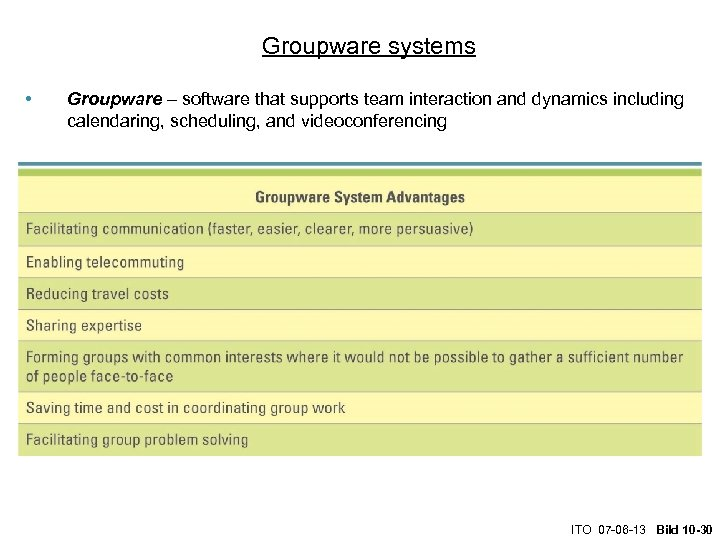 Groupware systems • Groupware – software that supports team interaction and dynamics including calendaring,