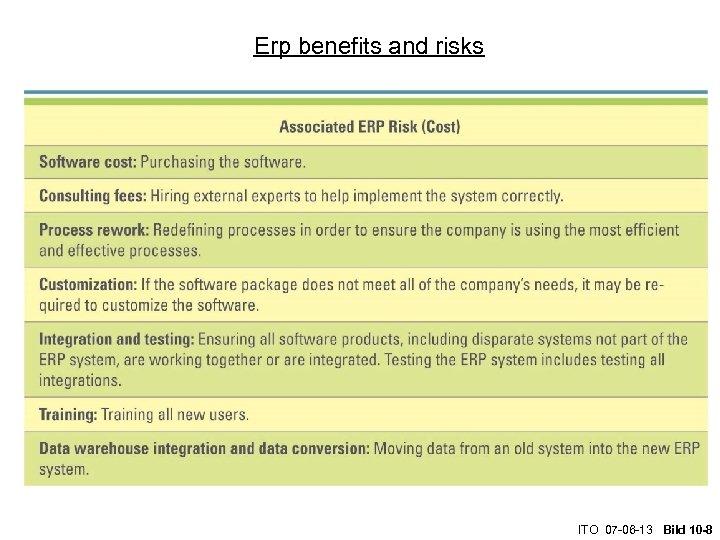 Erp benefits and risks ITO 07 -06 -13 Bild 10 -8