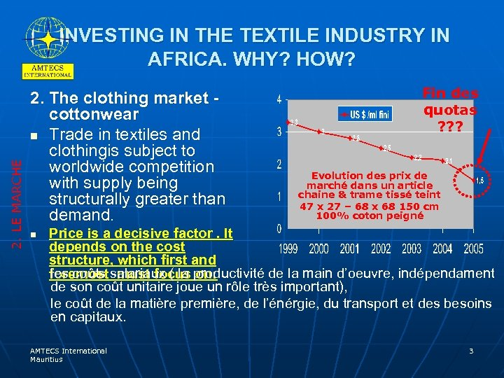 2. LE MARCHE INVESTING IN THE TEXTILE INDUSTRY IN AFRICA. WHY? HOW? 2. The