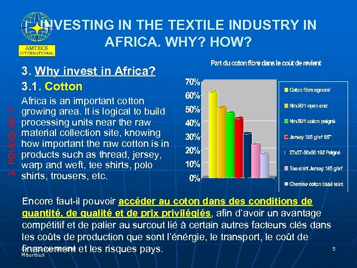 INVESTING IN THE TEXTILE INDUSTRY IN AFRICA. WHY? HOW? 3. POURQUOI ? 3. Why
