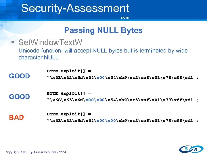 Security-Assessment. com Passing NULL Bytes § Set. Window. Text. W Unicode function, will accept