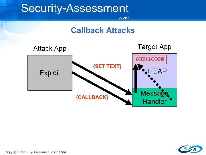 Security-Assessment. com Callback Attacks Target App Attack App SHELLCODE Exploit {SET TEXT} {CALLBACK} Copyright