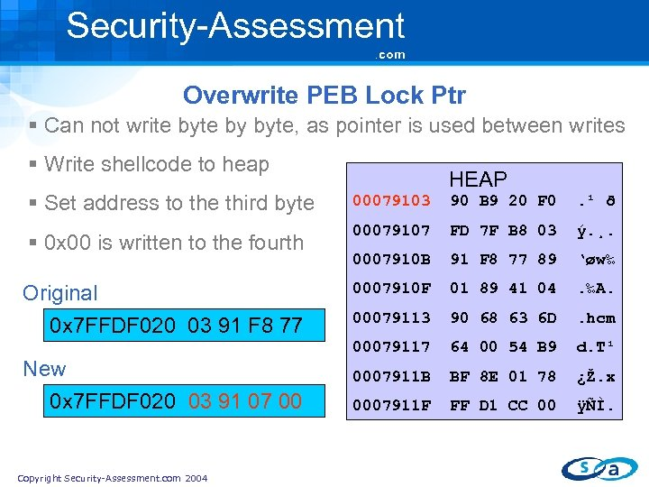 Security-Assessment. com Overwrite PEB Lock Ptr § Can not write by byte, as pointer