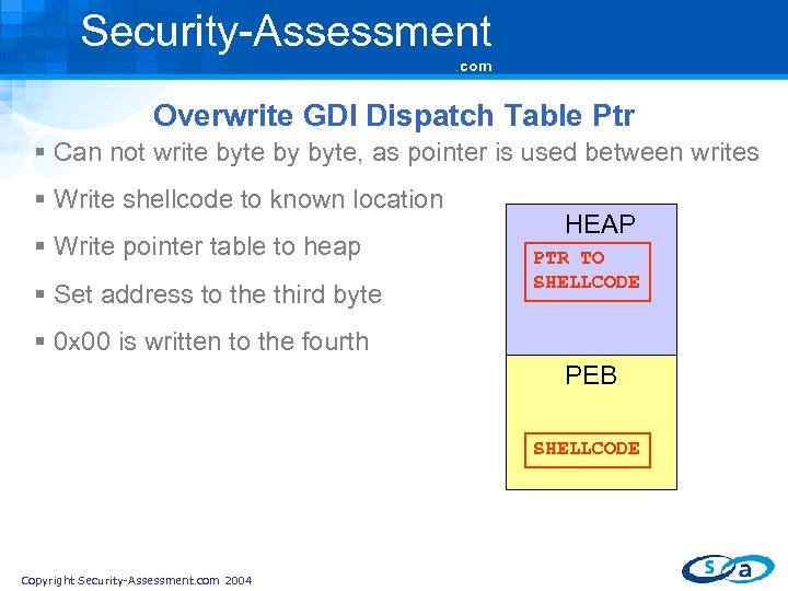 Security-Assessment. com Overwrite GDI Dispatch Table Ptr § Can not write by byte, as