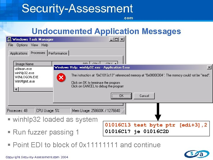 Security-Assessment. com Undocumented Application Messages § winhlp 32 loaded as system § Run fuzzer