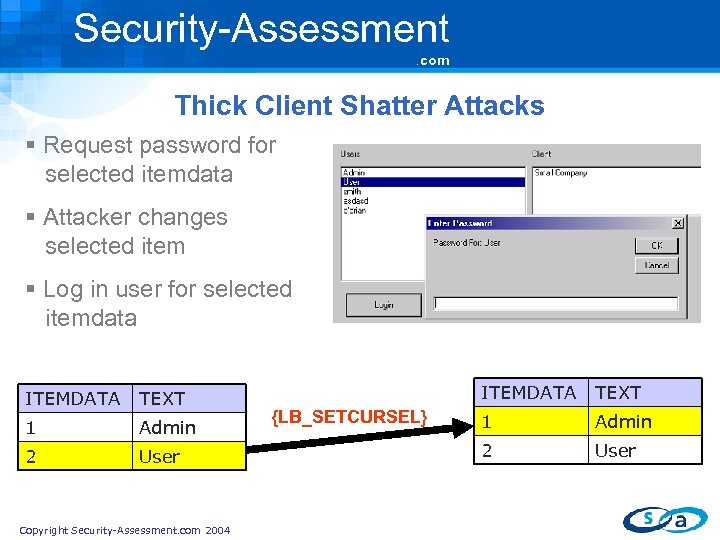 Security-Assessment. com Thick Client Shatter Attacks § Request password for selected itemdata § Attacker