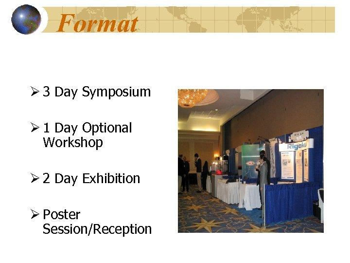 Format Ø 3 Day Symposium Ø 1 Day Optional Workshop Ø 2 Day Exhibition