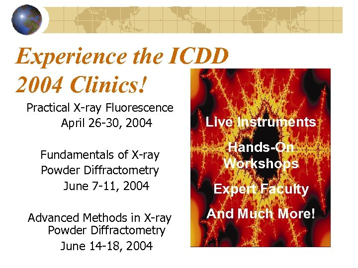 Experience the ICDD 2004 Clinics! Practical X-ray Fluorescence April 26 -30, 2004 Fundamentals of