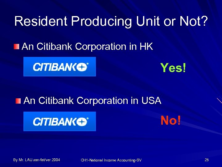 Resident Producing Unit or Not? An Citibank Corporation in HK Yes! An Citibank Corporation
