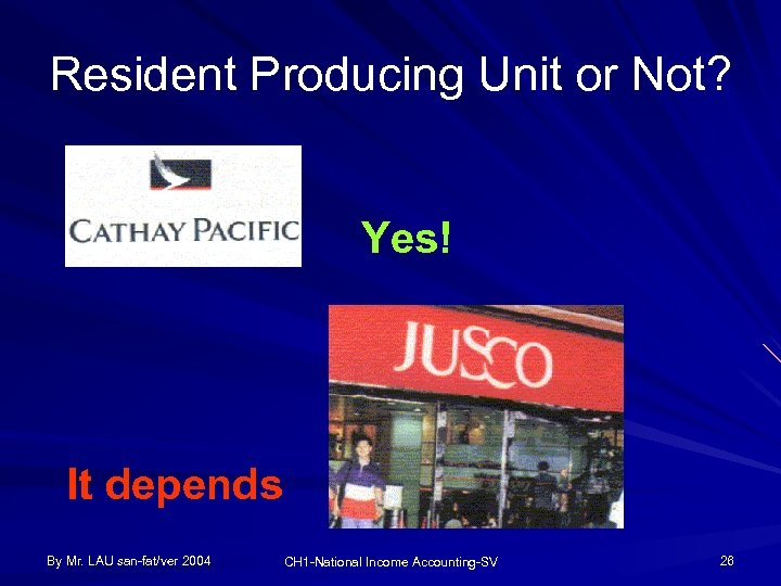 Resident Producing Unit or Not? Yes! It depends By Mr. LAU san-fat/ver 2004 CH