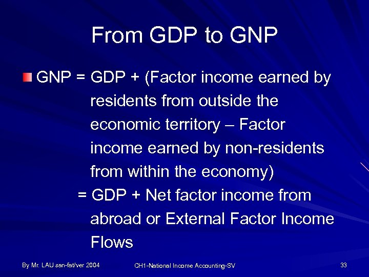 From GDP to GNP = GDP + (Factor income earned by residents from outside