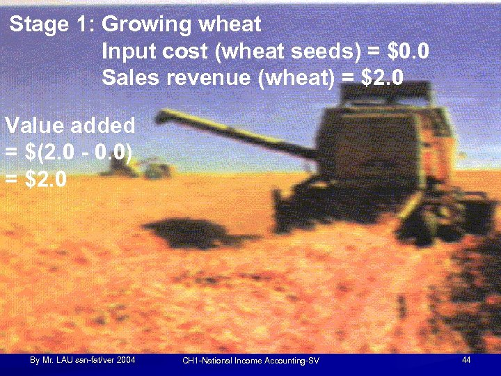 Stage 1: Growing wheat Input cost (wheat seeds) = $0. 0 Sales revenue (wheat)