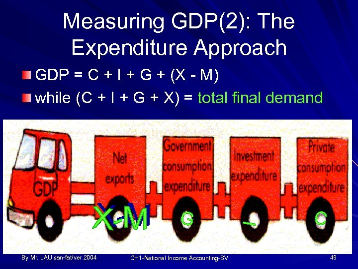 Measuring GDP(2): The Expenditure Approach GDP = C + I + G + (X