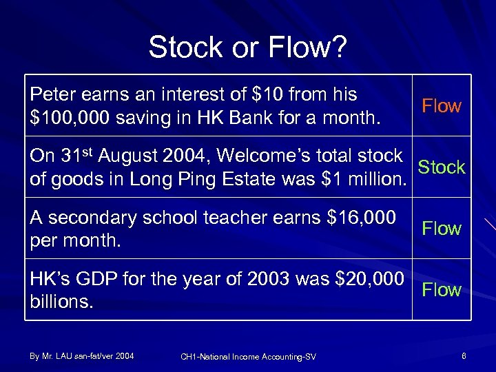 Stock or Flow? Peter earns an interest of $10 from his $100, 000 saving