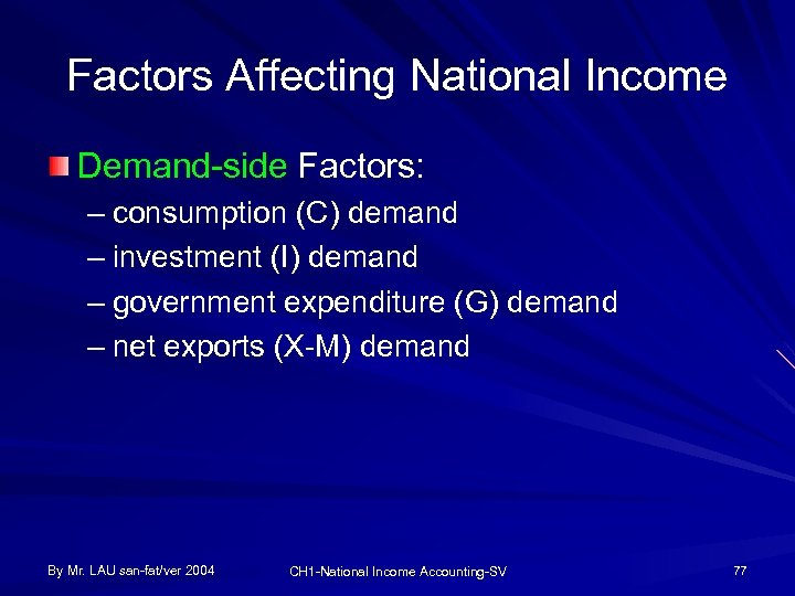 Factors Affecting National Income Demand-side Factors: – consumption (C) demand – investment (I) demand