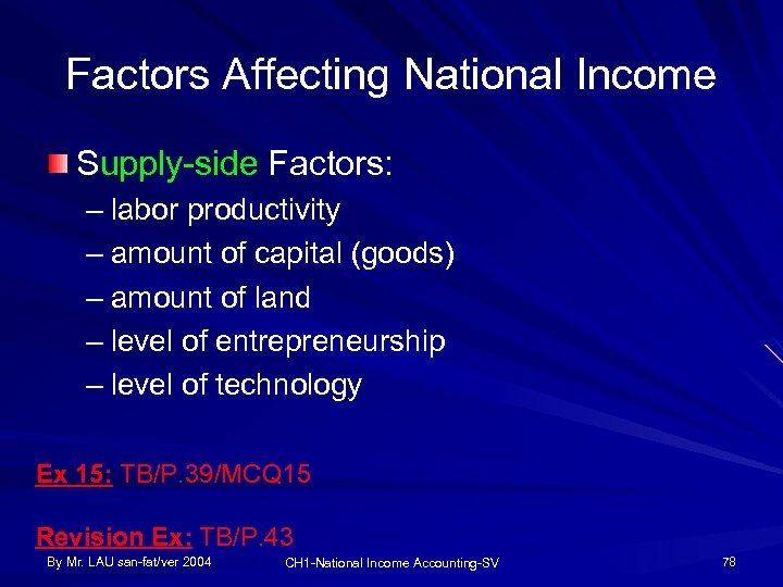 Factors Affecting National Income Supply-side Factors: – labor productivity – amount of capital (goods)