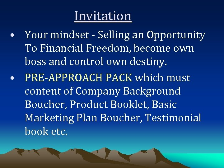 Invitation • Your mindset - Selling an Opportunity To Financial Freedom, become own boss