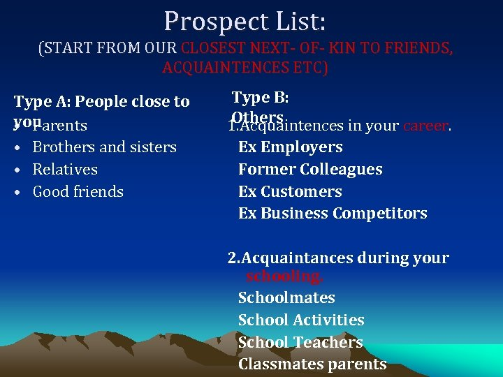 Prospect List: (START FROM OUR CLOSEST NEXT- OF- KIN TO FRIENDS, ACQUAINTENCES ETC) Type