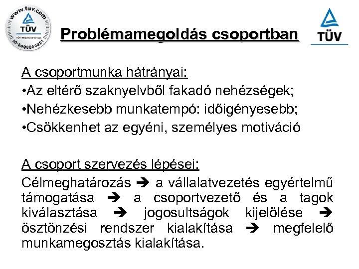 Problémamegoldás csoportban A csoportmunka hátrányai: • Az eltérő szaknyelvből fakadó nehézségek; • Nehézkesebb munkatempó: