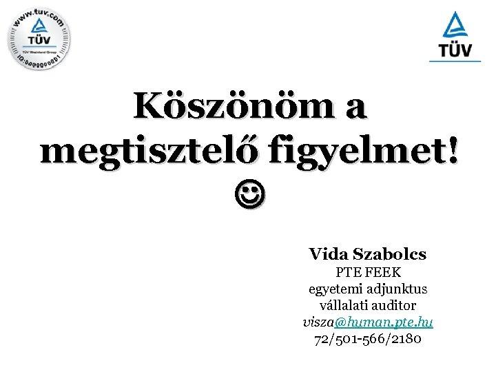 Köszönöm a megtisztelő figyelmet! Vida Szabolcs PTE FEEK egyetemi adjunktus vállalati auditor visza@human. pte.