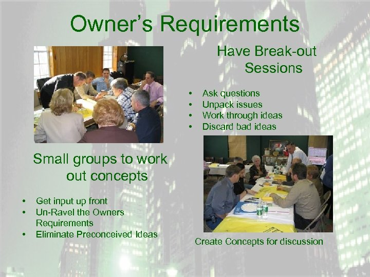 Owner's Requirements Have Break-out Sessions • • Ask questions Unpack issues Work through ideas