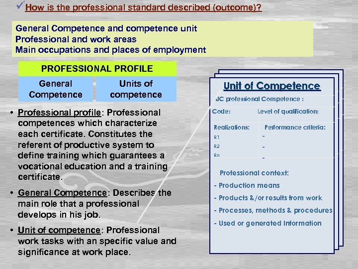 üHow is the professional standard described (outcome)? General Competence and competence unit Professional and