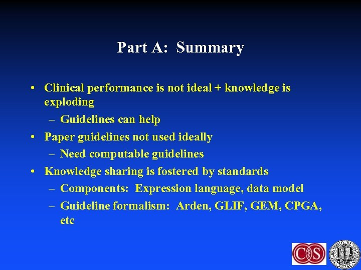 Part A: Summary • Clinical performance is not ideal + knowledge is exploding –
