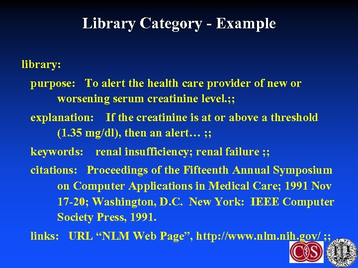 Library Category - Example library: purpose: To alert the health care provider of new