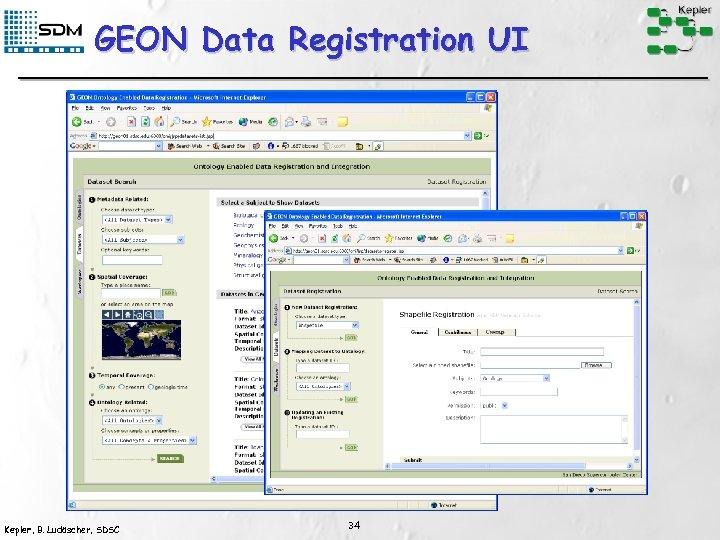 GEON Data Registration UI Kepler, B. Ludäscher, SDSC 34