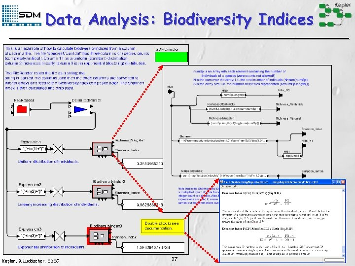 Data Analysis: Biodiversity Indices Kepler, B. Ludäscher, SDSC 37