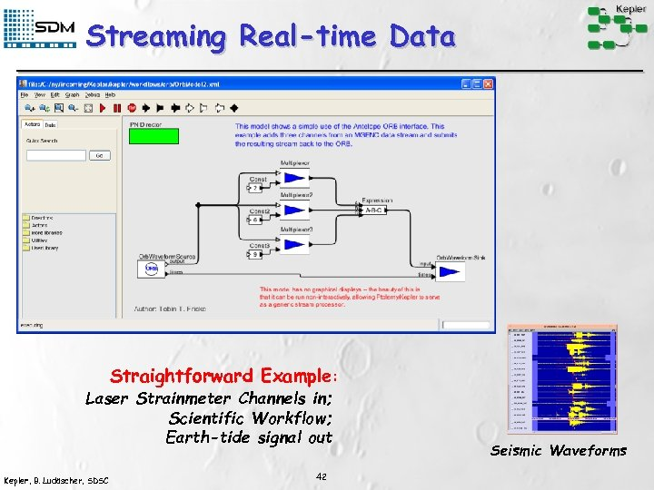Streaming Real-time Data Straightforward Example: Laser Strainmeter Channels in; Scientific Workflow; Earth-tide signal out