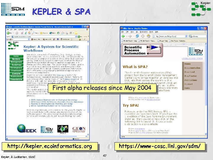 KEPLER & SPA First alpha releases since May 2004 http: //kepler. ecoinformatics. org Kepler,