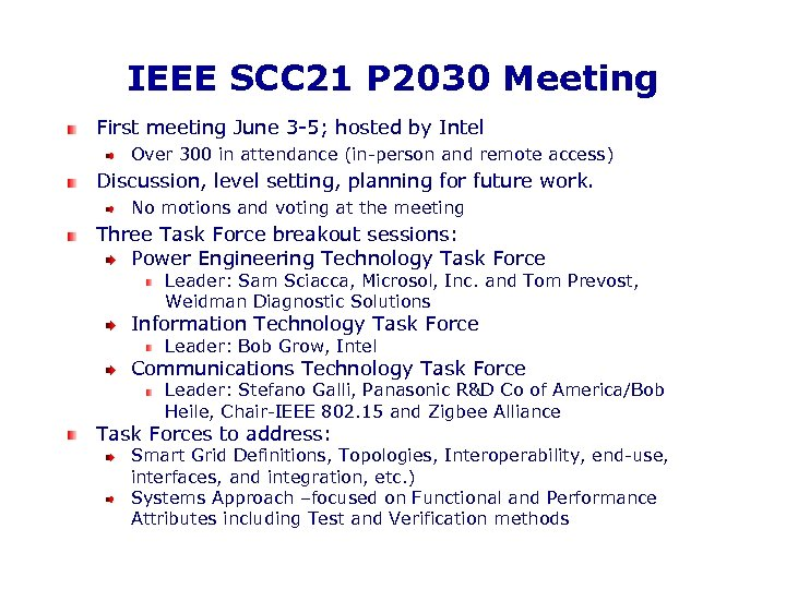IEEE SCC 21 P 2030 Meeting First meeting June 3 -5; hosted by Intel