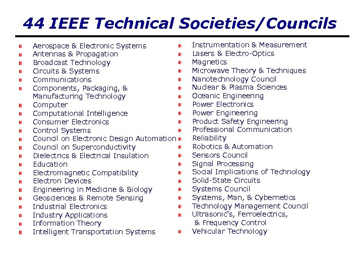 44 IEEE Technical Societies/Councils Aerospace & Electronic Systems Antennas & Propagation Broadcast Technology Circuits