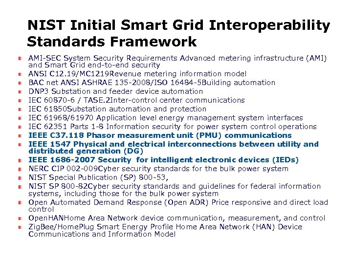 NIST Initial Smart Grid Interoperability Standards Framework AMI-SEC System Security Requirements Advanced metering infrastructure