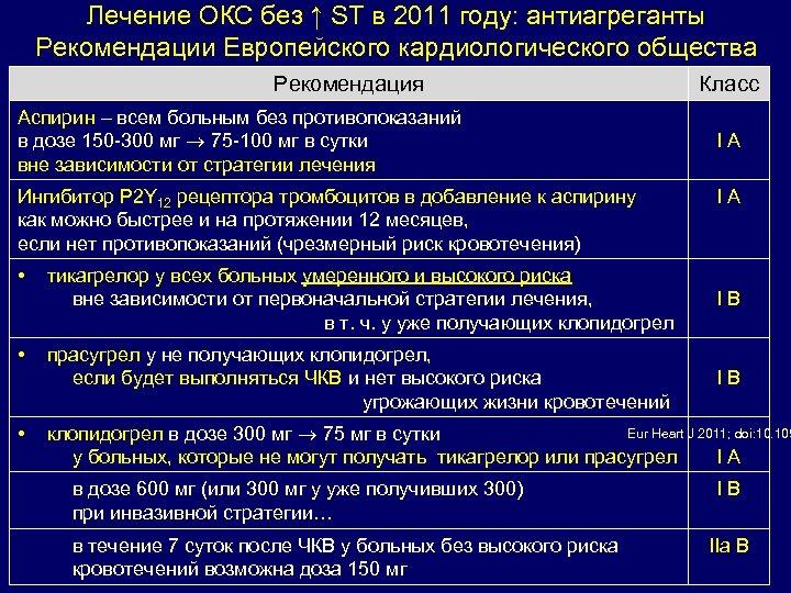Лечение ОКС без ↑ ST в 2011 году: антиагреганты Рекомендации Европейского кардиологического общества Рекомендация