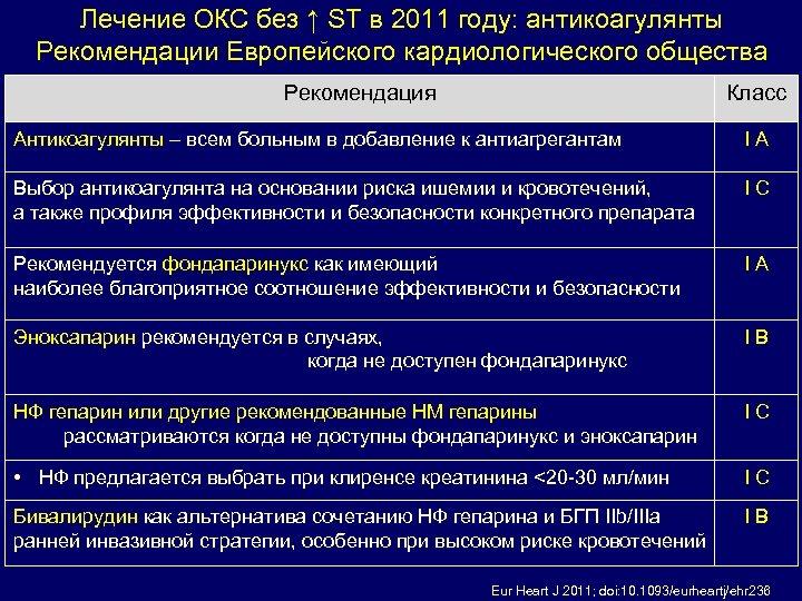 Лечение ОКС без ↑ ST в 2011 году: антикоагулянты Рекомендации Европейского кардиологического общества Рекомендация