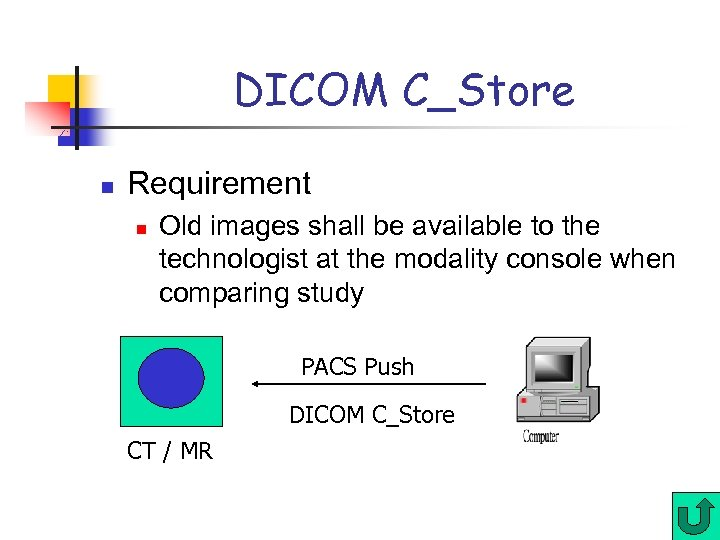 DICOM C_Store n Requirement n Old images shall be available to the technologist at