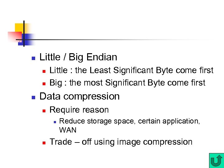 n Little / Big Endian n Little : the Least Significant Byte come first