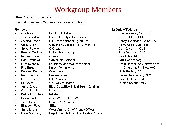 Workgroup Members Chair: Aneesh Chopra, Federal CTO Co-Chair: Sam Karp, California Healthcare Foundation Members: