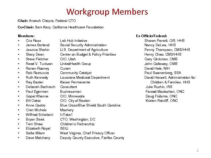 Workgroup Members Chair: Aneesh Chopra, Federal CTO Co-Chair: Sam Karp, California Healthcare Foundation Members: