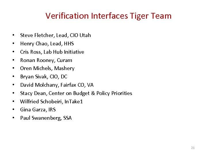 Verification Interfaces Tiger Team • • • Steve Fletcher, Lead, CIO Utah Henry Chao,