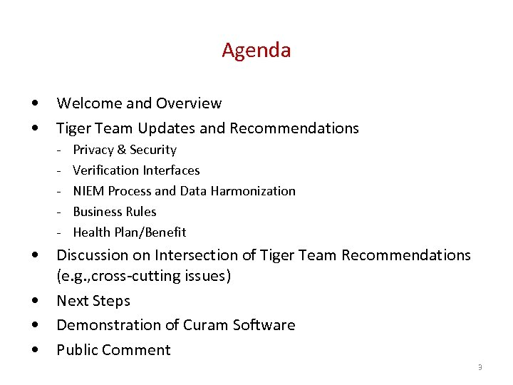 Agenda • Welcome and Overview • Tiger Team Updates and Recommendations - Privacy &